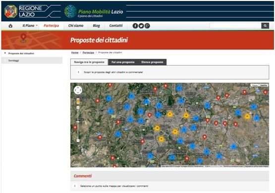 Web portal communications Regional Plan of Mobility ' of Transport and Logistics of the Lazio Region