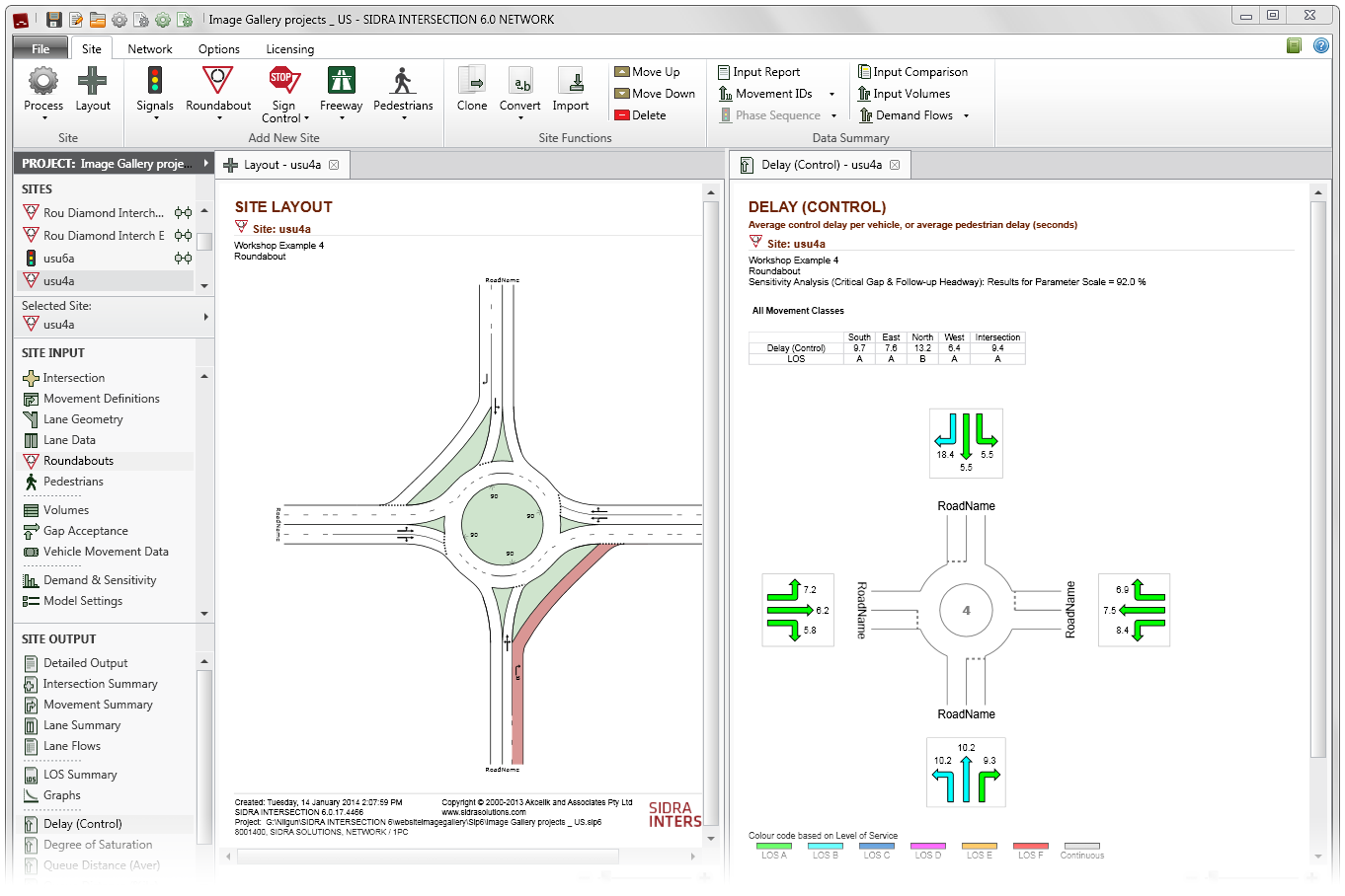 SIDRA INTERSECTION - us-SiteLayout-DelayControl